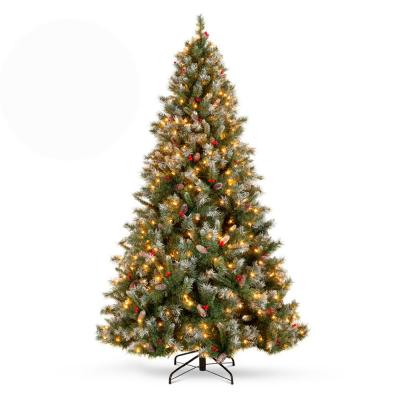 9 ft. Pre-Lit Incandescent Flocked Pre-Decorated Artificial Christmas Tree with 900 Warm White Lights