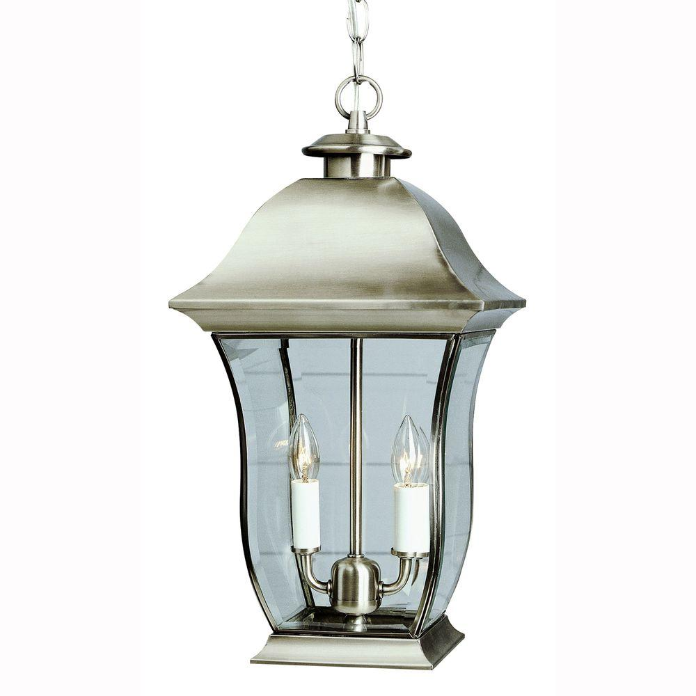 Bel Air Lighting Wall Flower 2-Light Outdoor Hanging Brushed Nickel Lantern with Clear Glass