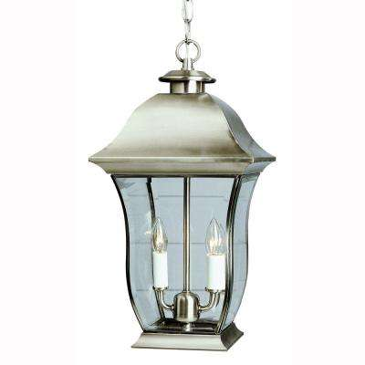 Wall Flower 2 Light Outdoor Hanging Brushed Nickel Lantern With Clear Glass