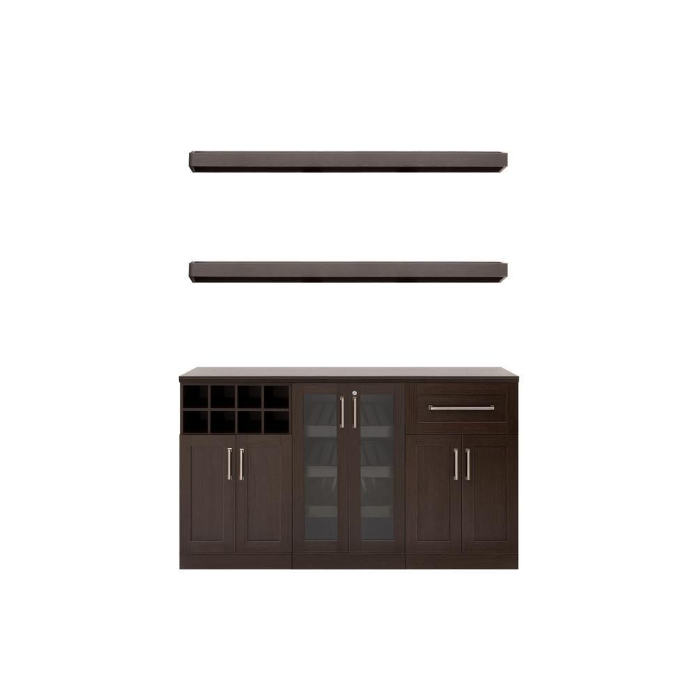 Home Bar 21 in. Espresso Cabinet Set (6-Piece)
