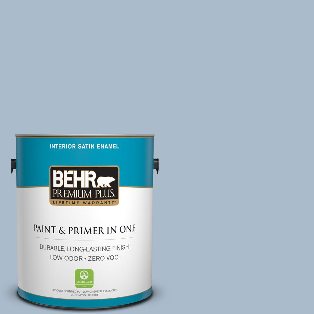 1 gal. #PPU15-16 Simply Blue Zero VOC Satin Enamel Interior Paint