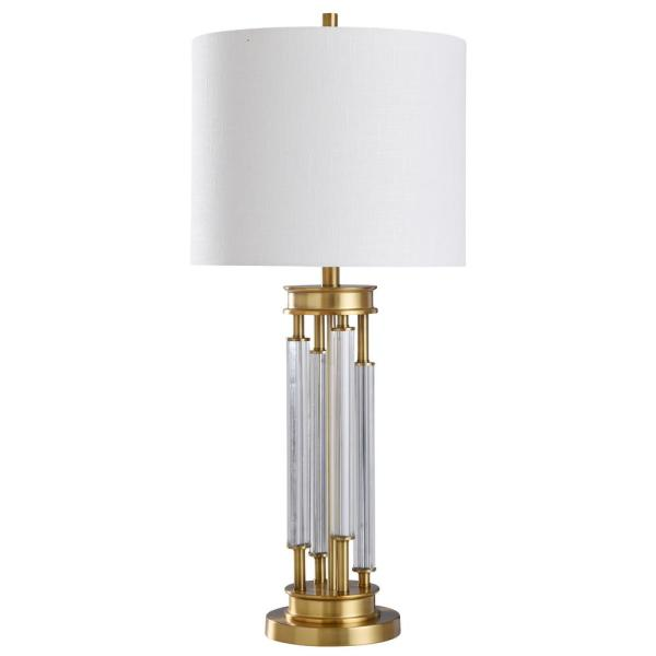 Devi 33 in. Stain Brass, Clear Table Lamp