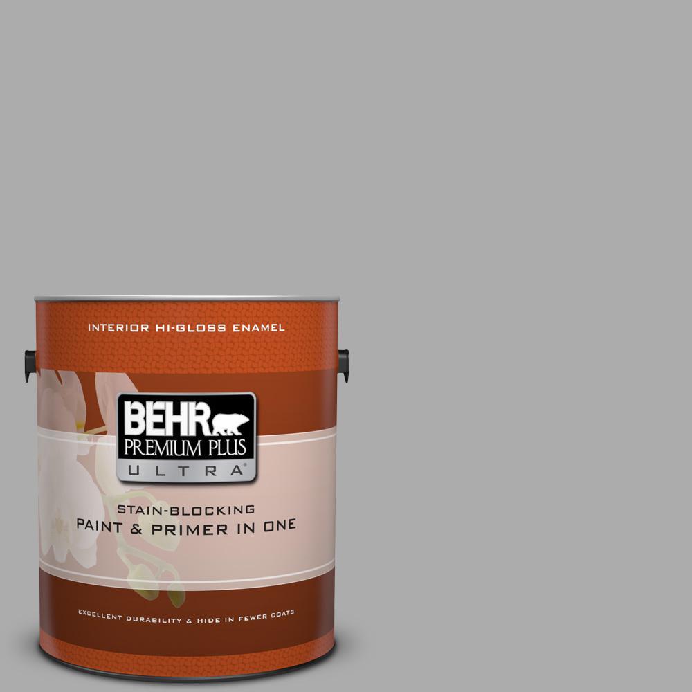 1 gal. #N520-3 Flannel Gray Hi-Gloss Enamel Interior Paint