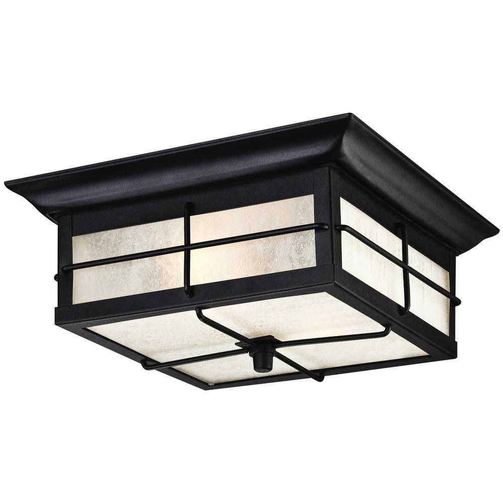 Westinghouse outdoor ceiling lighting outdoor lighting the orwell 2 light textured black outdoor flushmount aloadofball Choice Image