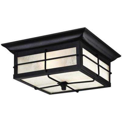 Orwell 2-Light Textured Black Outdoor Flushmount