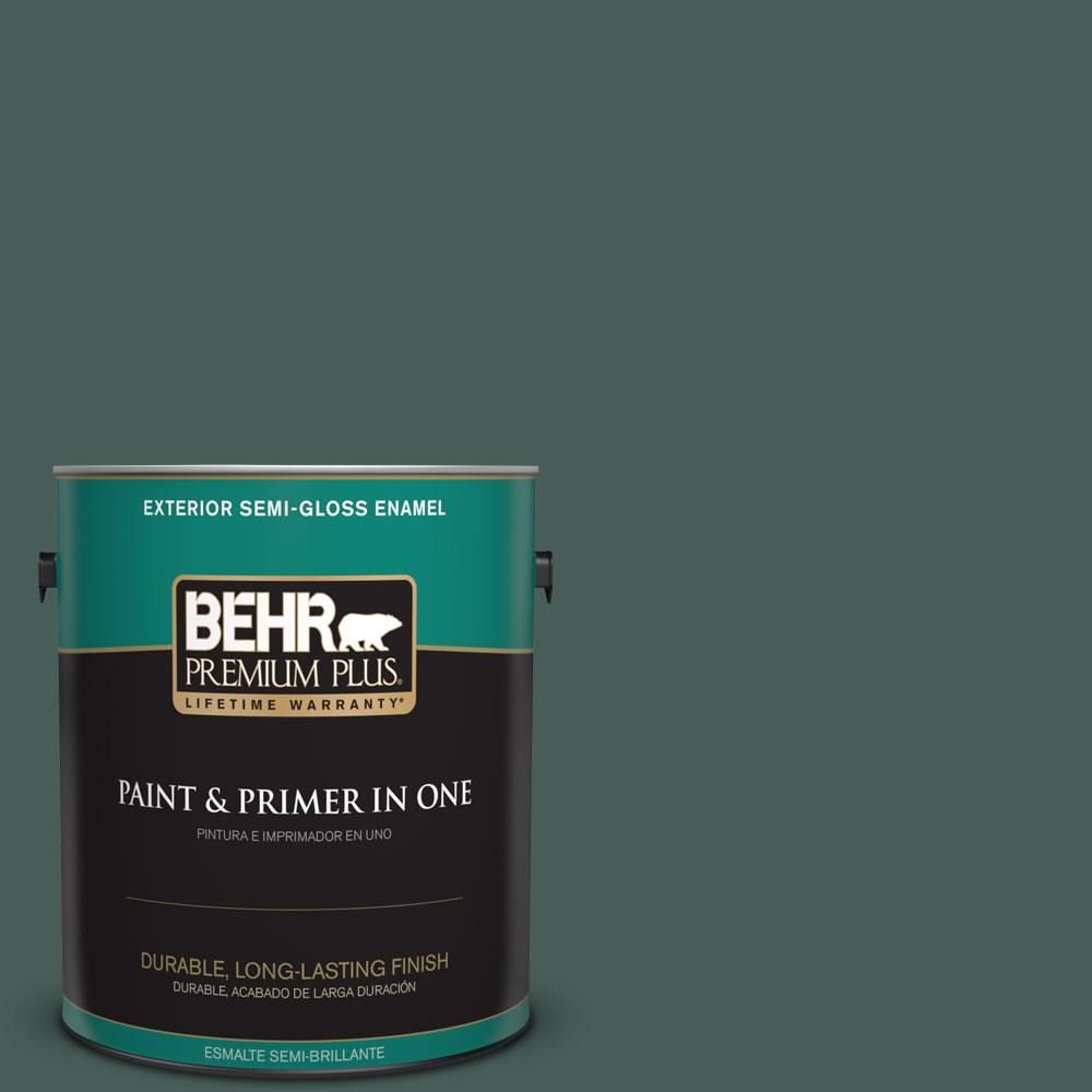 BEHR Premium Plus 1-gal. #ICC-86 New Hunter Semi-Gloss Enamel Exterior Paint
