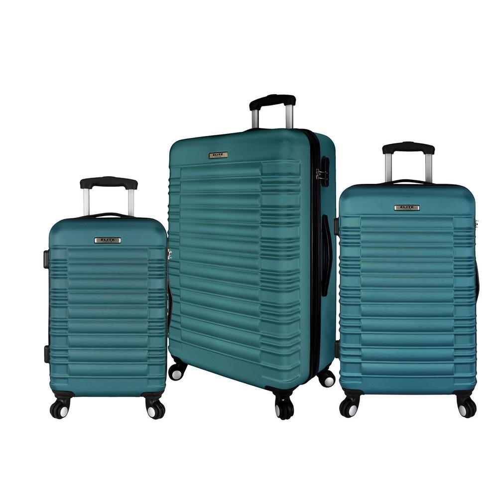 3-Piece Hardside Spinner Luggage Set, Teal