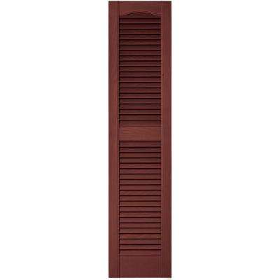 12 in. x 52 in. Louvered Vinyl Exterior Shutters Pair in #027 Burgundy Red