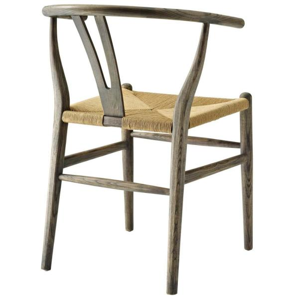Modway Amish Weathered Gray Dining Wood Side Chair Eei 3047 Gry The Home Depot