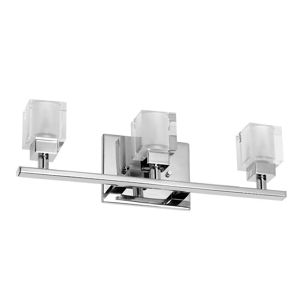 Radionic hi tech new era 3 light polished chrome vanity - Polished chrome bathroom lighting ...