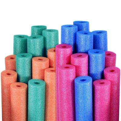 Blue, Pink, Teal, and Orange Swimming Pool Water Noodles (24-Pack)