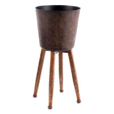 10 in. W x 18.5 in. H Gold Steel Planter