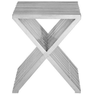 Press Silver Stainless Steel Side Table