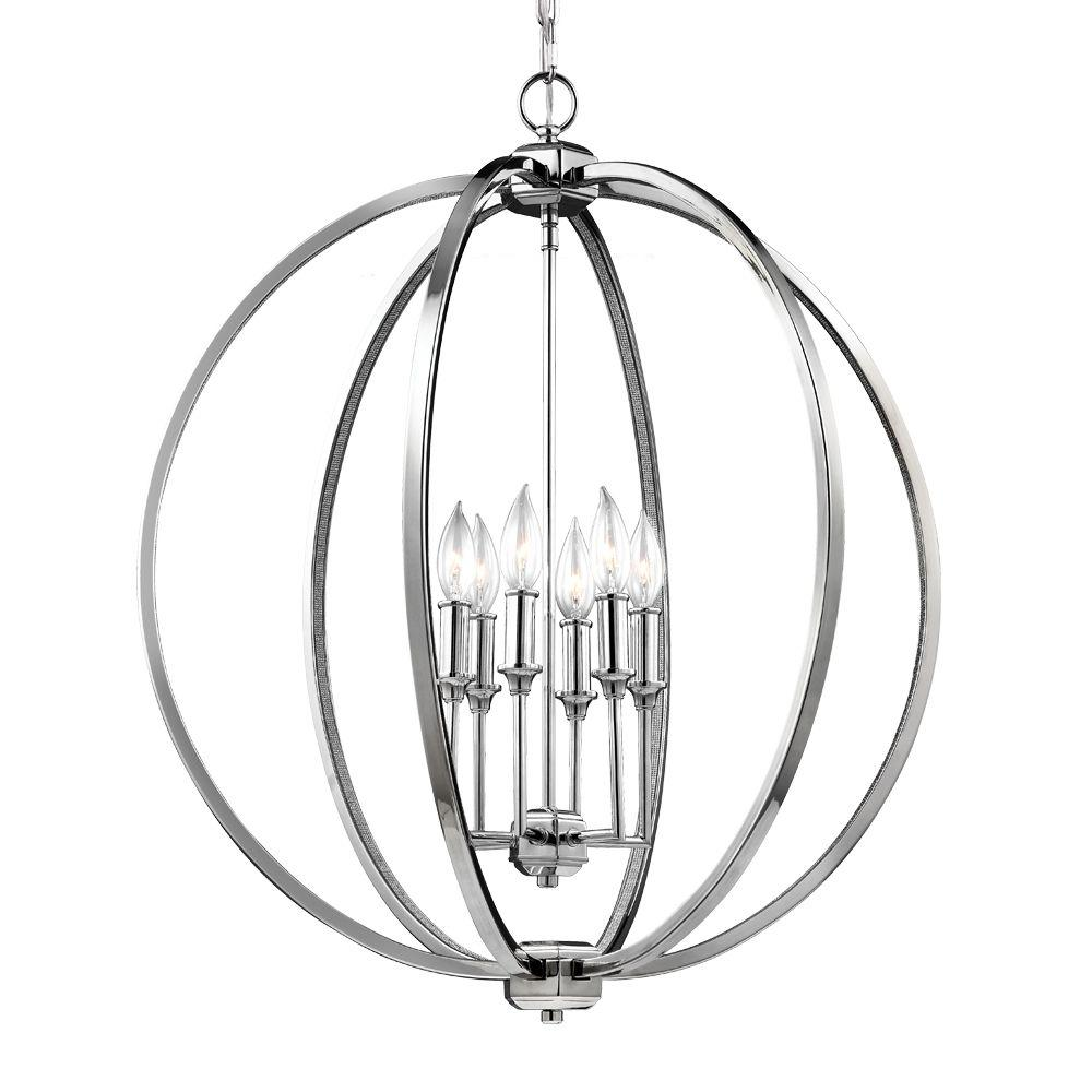 Feiss Corinne 6-Light Polished Nickel Pendant