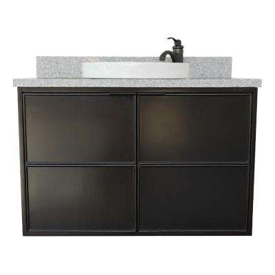 Scandi IV 37 in. W x 22 in. D Wallmount Bath Vanity in Cappuccino with Granite Vanity Top in Gray with White Round Basin