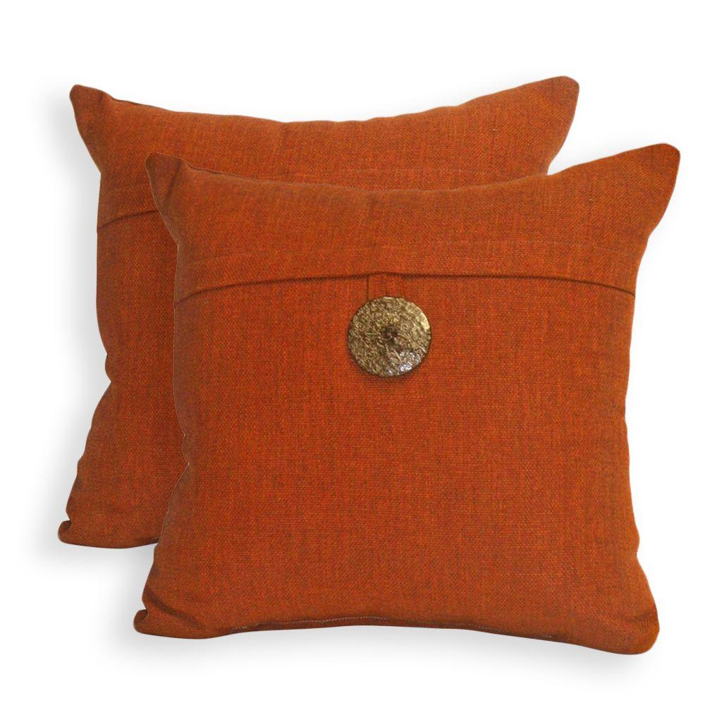 Peak Season Spice Red Outdoor Throw Pillow with Button (2-Pack)