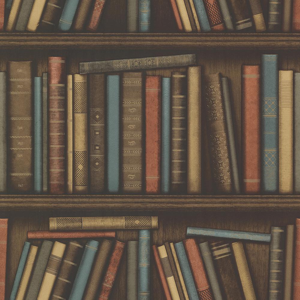 56.4 sq. ft. Atheneum Aqua Antique Books Wallpaper