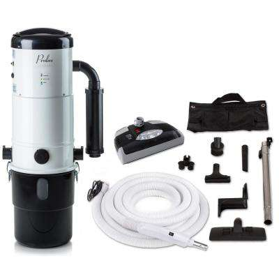 CV12000 White Central Vacuum Power Unit with Electric Hose and Black Power Nozzle Kit