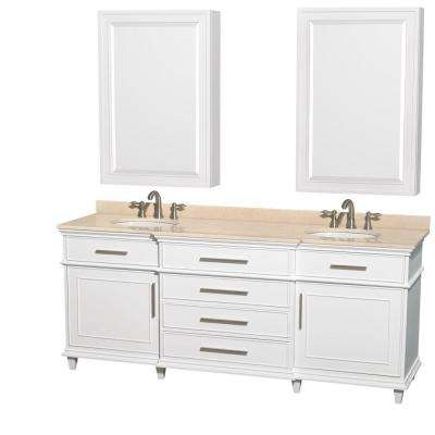 Berkeley 80 in. Double Vanity in White with Marble Vanity Top in Ivory, Undermount Round Sinks and Medicine Cabinets