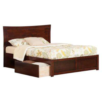 Metro Walnut Queen Platform Bed with Flat Panel Foot Board and 2-Urban Bed Drawers