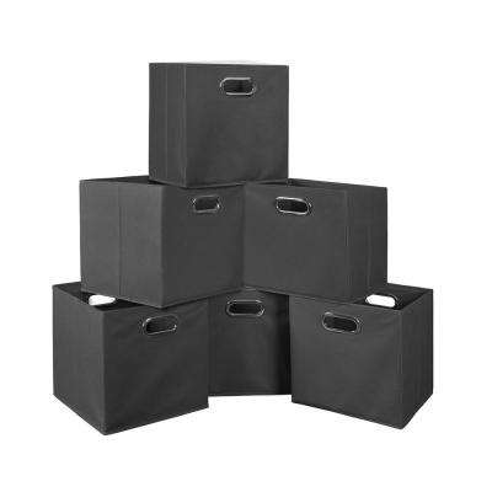 Cubo 12 in. x 12 in. Grey Foldable Fabric Bin (6-Pack)