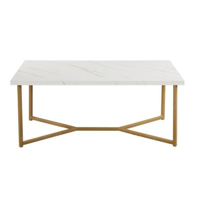 White Marble Top Modern Coffee Table with Golden Legs