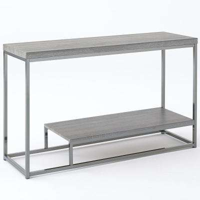 Lucia Dark Brown Sofa Table with Nickel Base