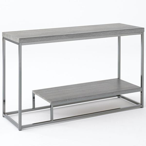 Lucia Dark Brown Sofa Table with Nickel Base LU150S - The Home Depot