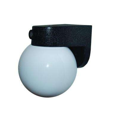 1-Light Black Outdoor Incandescent Black Wall Bracket with 6 in. Globe and Dusk/Dawn Sensor