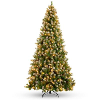 9 ft. Pre-Lit Incandescent Flocked Pre-Decorated Artificial Christmas Tree with 850 Warm White Lights