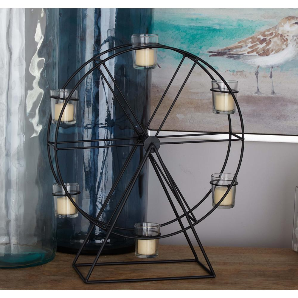 19 in. 6-Glass Black-Finished Metal Ferris Wheel Candle Holder