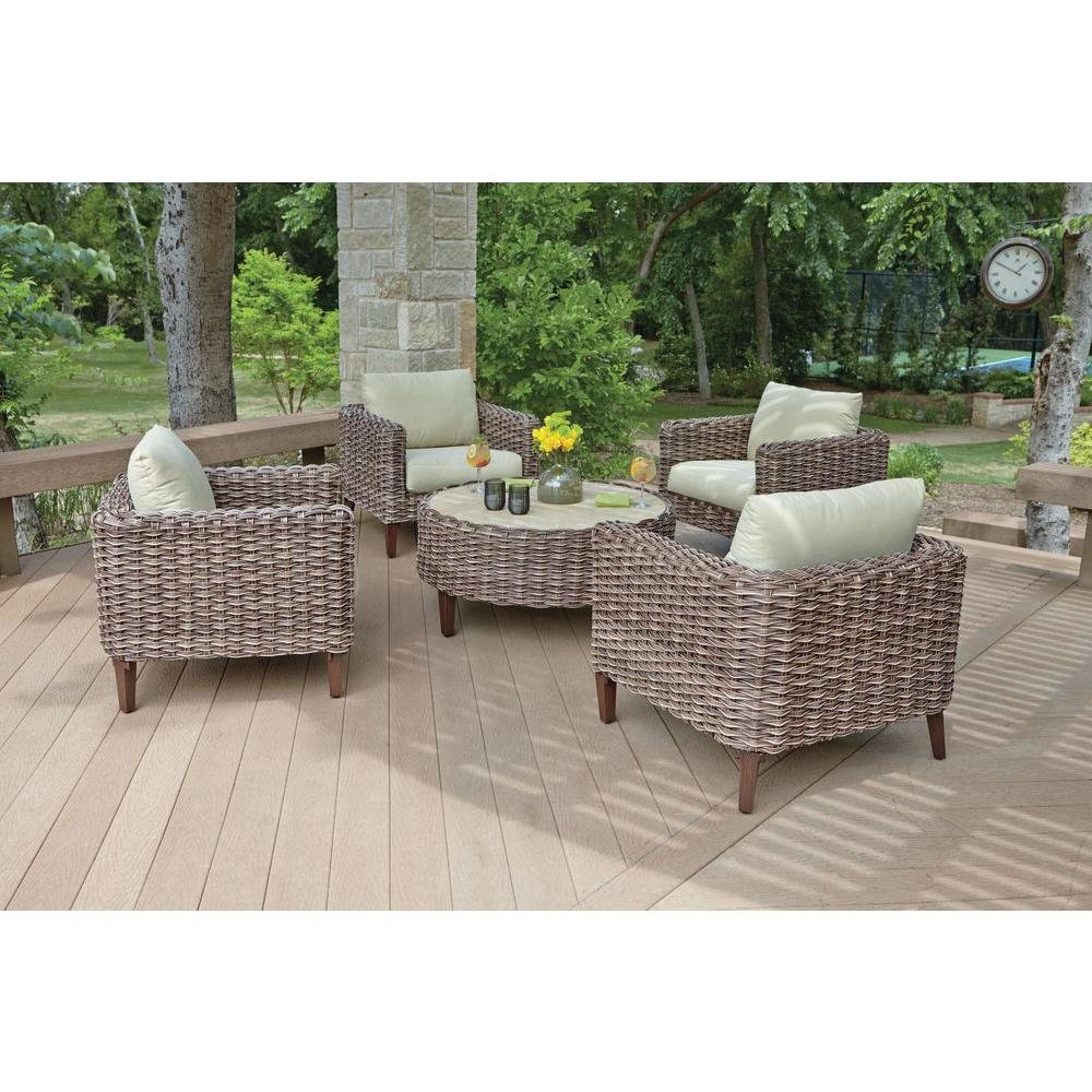 Charming Woodard Worldwide Willow Springs 5 Piece Woven Patio Chat Set With Cushions
