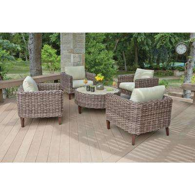 Willow Springs 5-Piece Woven Patio Chat Set with Cushions