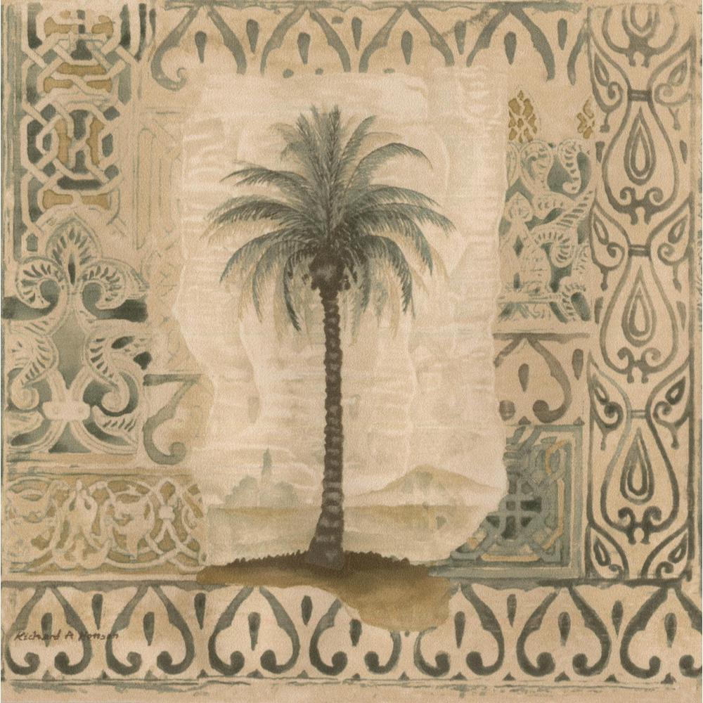 Norwall Palm Trees In Vintage Frames Damask Pattern Prepasted Wallpaper Border