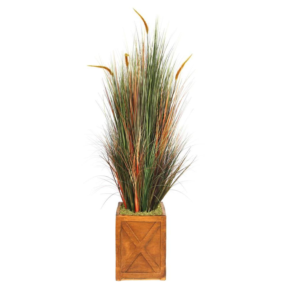 69 in. Tall Onion Grass with Cattails in 13 in. Fiberstone