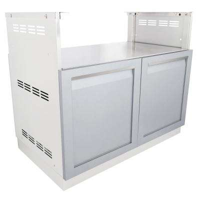 Stainless Steel Insert BBQ Grill 40x35x23.5 in. Outdoor Kitchen Cabinet Base with Powder Coated Doors in Gray