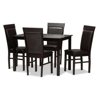 Thea 5-Piece Dark Brown Dining Set