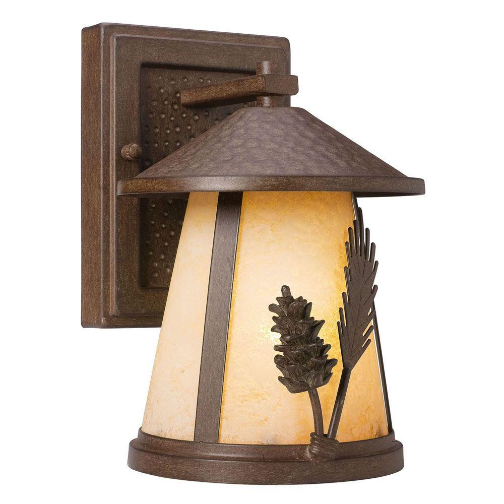 Hampton Bay Lodge 1-Light Weathered Spruce Outdoor Wall Mount ...