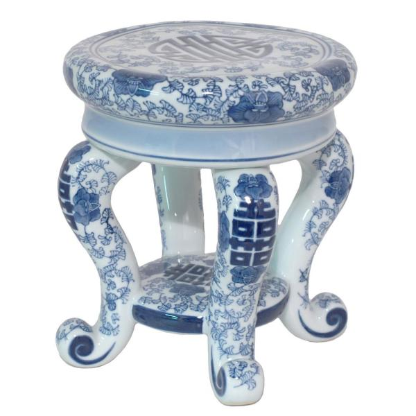 Three Hands Blue And White Ceramic Plant Stand