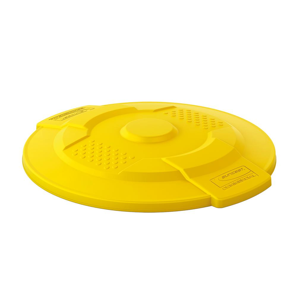 Suncast Commercial 55 Gal Yellow Trash Can Lid