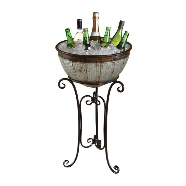 Vintiquewise Galvanized Metal Standing Beverage Cooler Tub With Liner Qi003628 The Home Depot