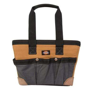 12 in. Soft Sided Construction Work Bin Tool Tote, Grey/Tan