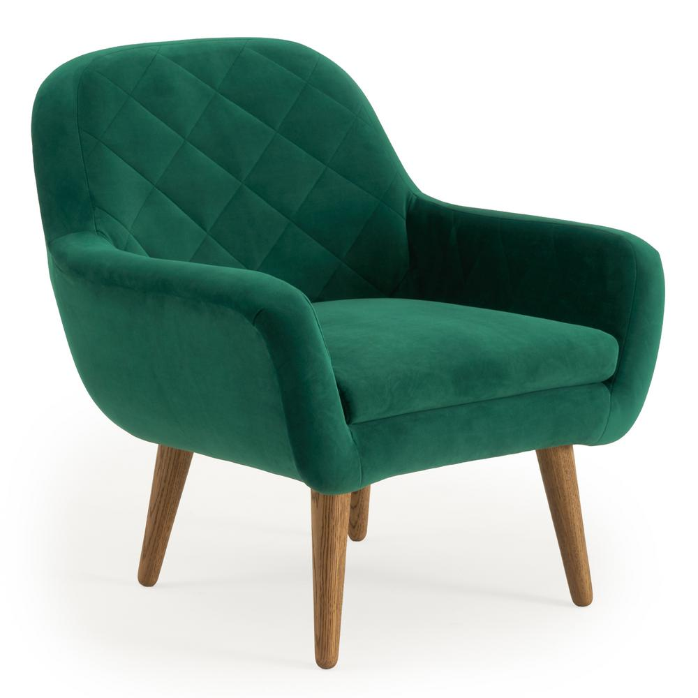 Green Pattern Accent Chair: RST Brands Isobel Emerald Green Upholstered Diamond