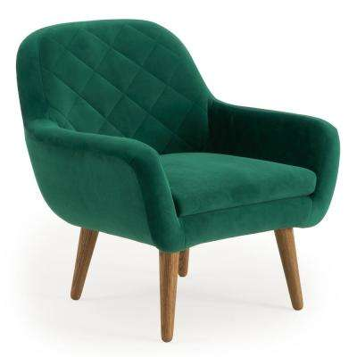 Isobel Emerald Green Upholstered Diamond Pattern Accent Chair
