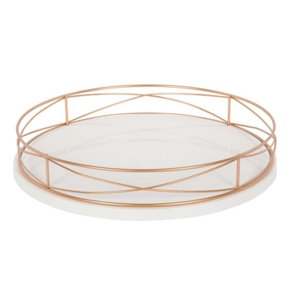 Kate and Laurel Mendel White/Rose Gold Decorative Tray 213144