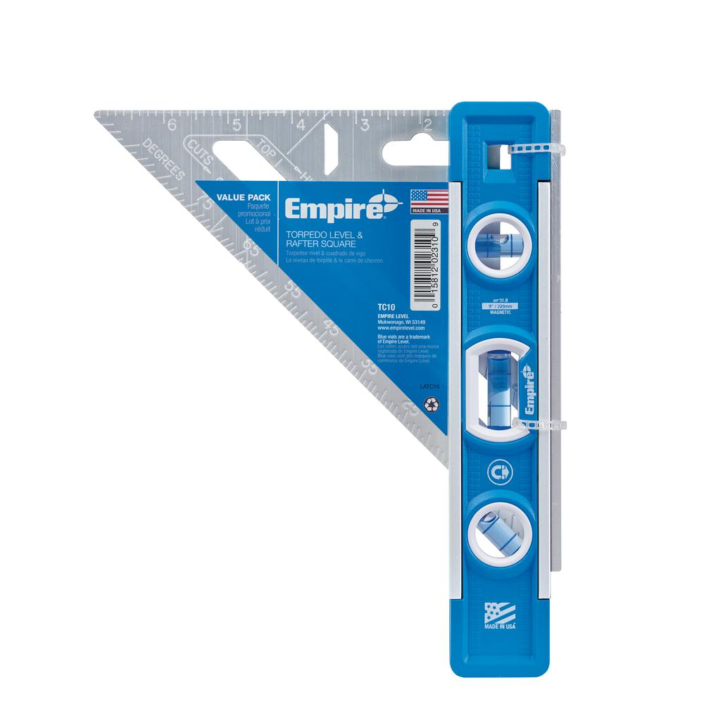 Empire Empire 9 in. Torpedo Level and 7 in. Aluminum Rafter Square Combo (2-Piece)