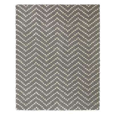 Chevron Shag Tan 8 ft. x 10 ft. Area Rug