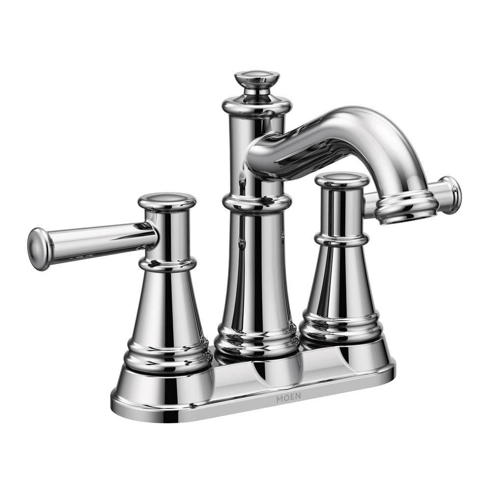 Kitchen Sink Faucets Home Depot: MOEN Belfield 4 In. Centerset 2-Handle Bathroom Faucet In