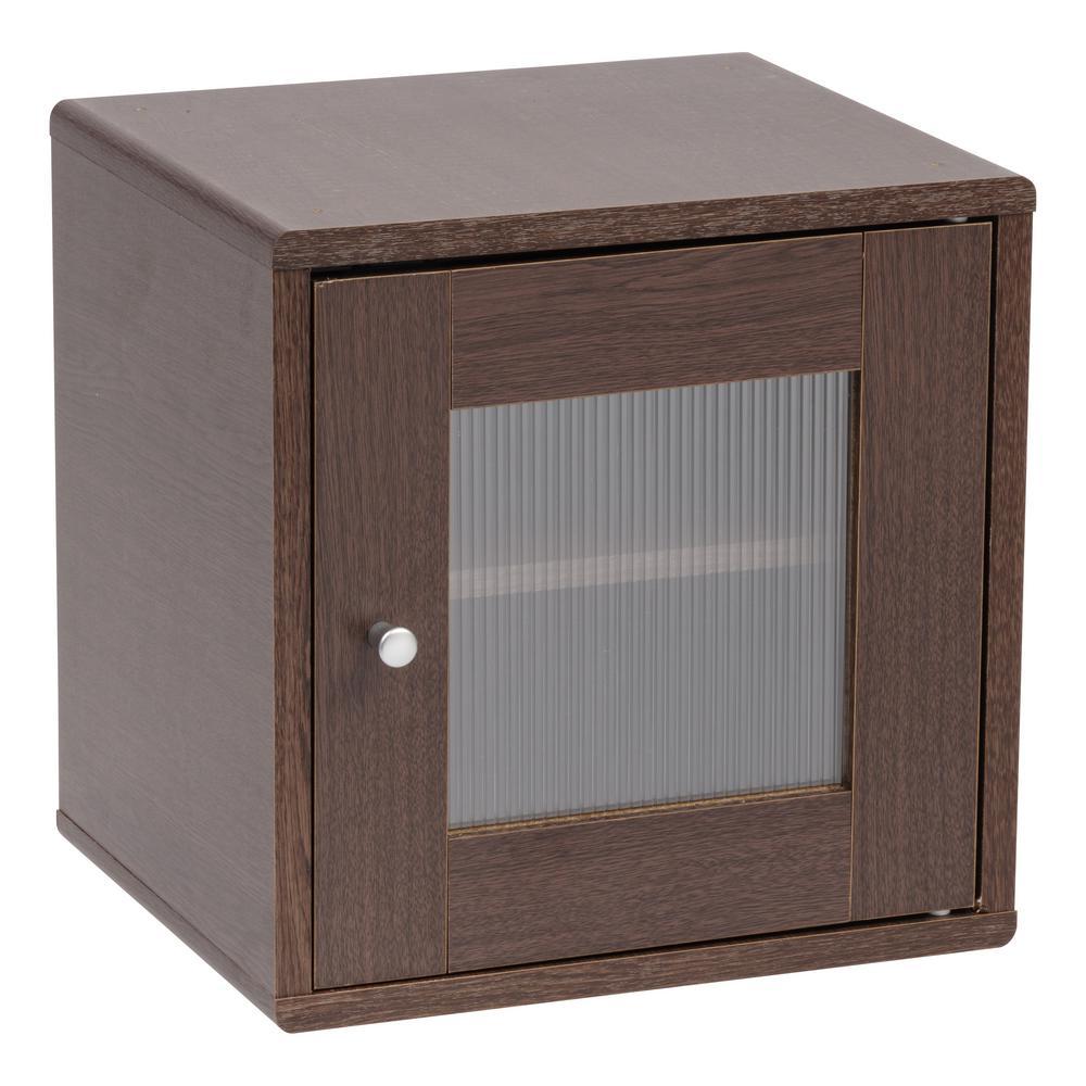 Kuda Series Brown Oak Wood Storage Cube with Window Door