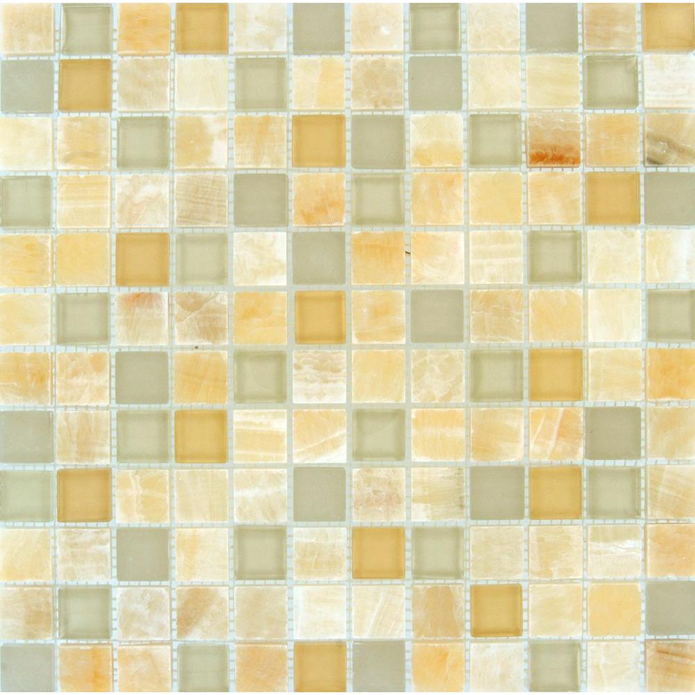 Honey ivory onyx 12 in x 12 in x 8 mm glass stone mesh for Installing glass tile with mesh back